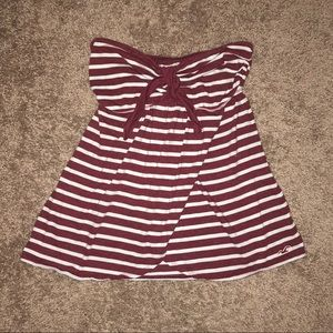 Hollister White and Maroon Stripped Strapless Top